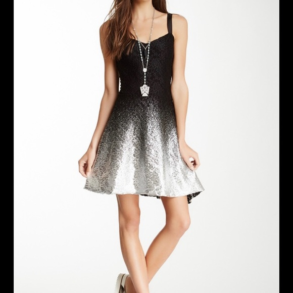 Free people ombre lace metallic dress sz small
